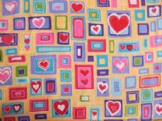 Hearts & Squares Print 100% Cotton Fabric